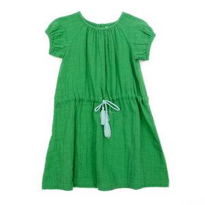 Musselin Mädchen Kleid Lucie grass green - Lily Balou
