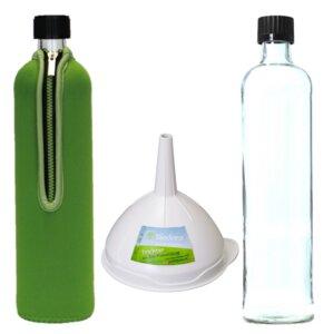 Dora´s 0,5l Trinkflasche mit Neoprenanzug und gratis Trichter  - Dora