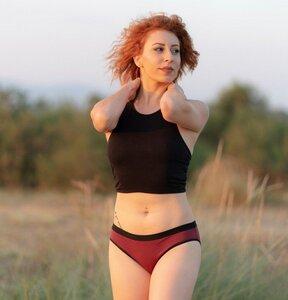 2 er Pack Damen Slip aus Modal Bikinislip Unterhose schwarz-bordeaux - ege organics