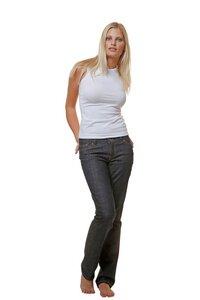 Faire Bio Damen Jeans GOTS zertifiziert Nahtfarbe klassisch gold - bill, bill & bill