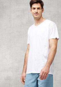 T-Shirt Runder V-Neck weiß - recolution