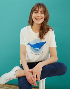 T-Shirt - BBC Earth Right Whale Tee Shirt - Eco White - People Tree