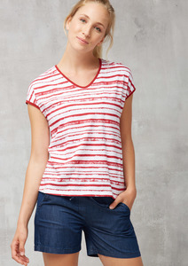 T-Shirt Casual V-Neck gestreift - recolution