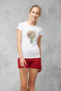 T-Shirt Casual #BOUQUET weiß - recolution
