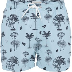 Badehose - Palm printed Swimshorts - Total Eclipse - KnowledgeCotton Apparel