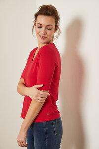 Kurzarmshirt aus Bio-Baumwolle mit V-Ausschnitt GOTS - LANIUS