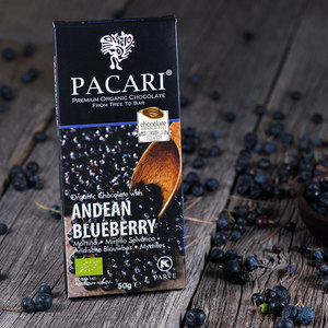 Bio-vegane Schokolade PACARI Anden-Blaubeere - Pacari