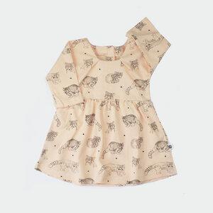 Kleid apricot / Waschbär print - Pünktchen Komma Strich