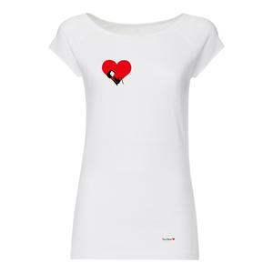 Damen T-Shirt Valentine Weiß Bio Fair - FellHerz