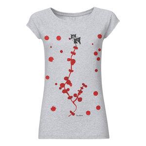 Damen T-Shirt Vampiretta Hellgrau Meliert Bio Fair - FellHerz