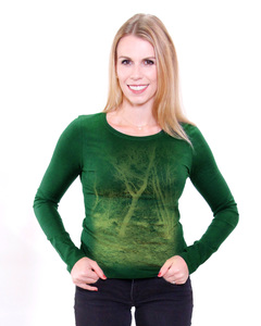 """Bio-Damen-Langarmshirt """"Zauberwald"""" - Peaces.bio - Neutral® - handbedruckt"""