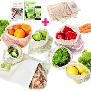 Gemüsebeutel & Obstbeutel + Brotbeutel, Obstnetz, Gemüsenetz, 7stck - EarthMe