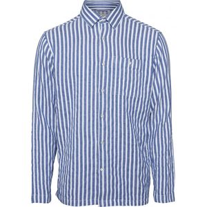Hemd - Short striped Shirt - Olympia Blue - KnowledgeCotton Apparel