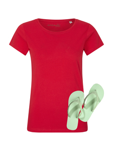Damen T-Shirt rot Beach Set - Goganics
