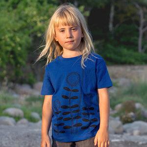 Blumen Kinder T-shirt blau meliert - Cmig