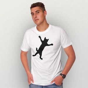 """""""Klammerkatze"""" Männer T-Shirt  - HANDGEDRUCKT"""