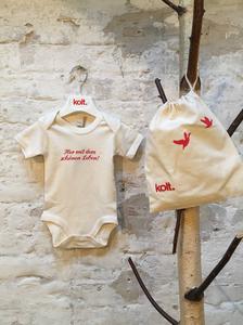 """Baby Body kurzarm """"Her mit dem schönen Leben"""" creme / natur - kolt."""