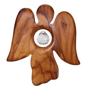 Fensterdeko Engel aus Holz mit Bleikristall - Mitienda Shop