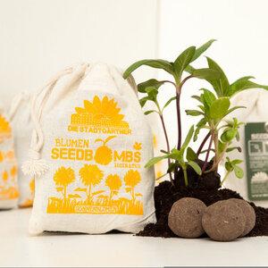 "8 Seedbombs ""Sonnenblumen"" im Mini-Jutebeutel - Die Stadtgärtner"