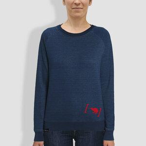 """Damen Sweater, """"Die große Klammer"""", Mid Washed Indigo - little kiwi"""