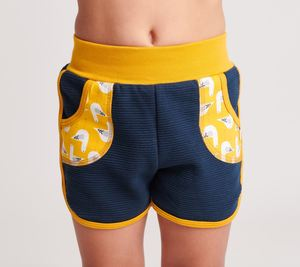 "Shorts ""Ribsweat navy/Seagulls senf"", 100% Bio-Baumwolle - Cheeky Apple"