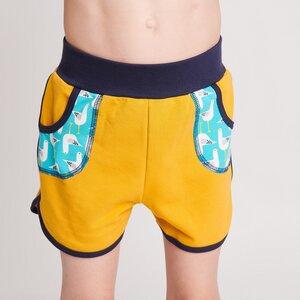 "Shorts ""Senf/Seagulls türkis"", 95% Bio-Baumwolle, 5% Elasthan - Cheeky Apple"