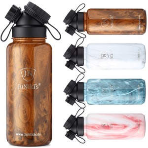 JuNiki´s Edelstahl-Thermosflasche 1L - Dekore in Holz- & Steinoptik - JN JuNiki's