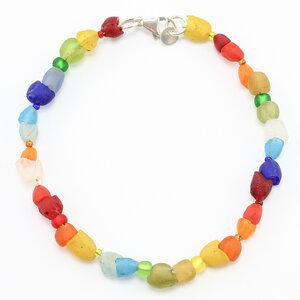 "Armband ""Small Flowers"", Krobo-Recyclingglas- und Rocailles-Perlen - steinfarben"