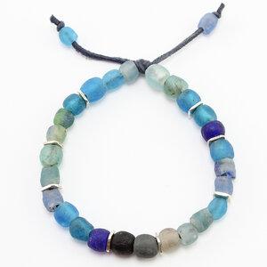 "Armband ""Konfetti"", Krobo-Recyclingglasperlen auf Textilband - steinfarben"