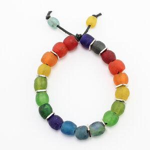 "Armband ""Kugelrund"", Krobo-Recyclingglasperlen auf Textilband - steinfarben"
