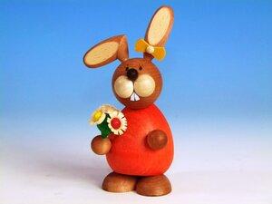 Osterhase mit Blumentrauß aus dem Erzgebirge - Ullrich Neuhausen