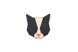 "Brosche aus Holz ""Black Cat"" |  Mode Schmuck - BeWooden"