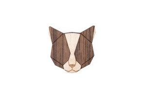 Holzanstecker Grey Cat Brooch - BeWooden
