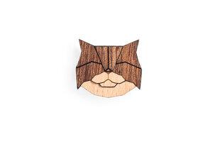 Brosche aus Holz - persische Katze   Mode Schmuck - BeWooden
