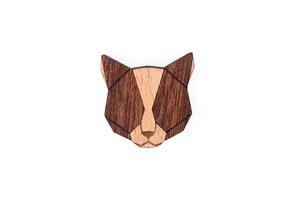 Brosche aus Holz - Rote Katze | Mode Schmuck - BeWooden