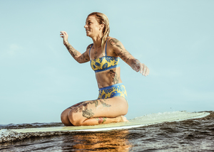 Bikini Top Biarritz - Reversible Surf Bikini – Paper Cut / Surf Blue - boochen