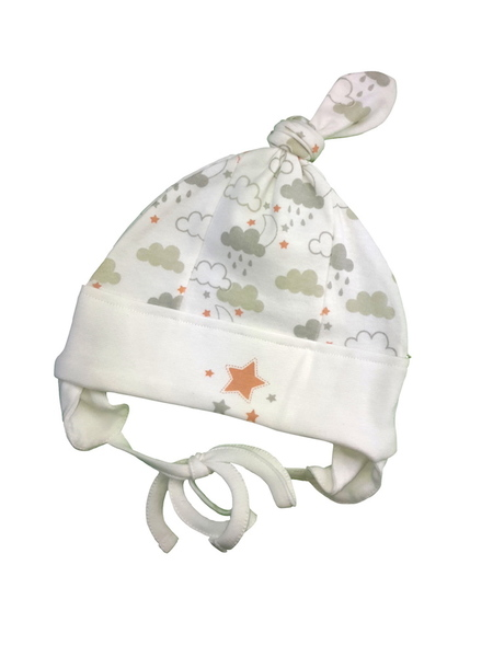 Baby Mütze Weiß Gemustert Bio Baumwolle Ebi & Ebi