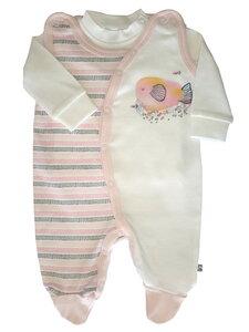 Baby Stramplerset rosa weiß oder hellblau weiß Bio Baumwolle EBi & EBi - EBi & EBi