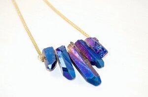 Regenbogenquarz Collier, blau - Crystal and Sage