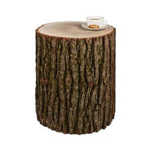 Baumstamm Beistelltisch Eiche mit Rinde Holzblock Holzklotz Hocker - GreenHaus