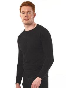 Recycled Tailored Knit Knit Mannschaft Schwarz Herren - Will's Vegan Shop