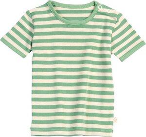Living Crafts Kurzarmshirt beige grün gestreift 100% Baumwolle( bio)  - Living Crafts