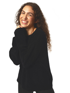 Lässiger Strickpullover schwarz Knit Damen - Will's Vegan Shop