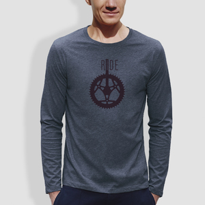 "Herren Longsleeve, ""Ride"", Blau - Dark Heather Blue - little kiwi"