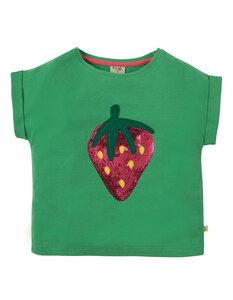 Slub T-Shirt grün Erdbeere Pailletten - Frugi
