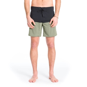 Eco Retro Boardshort Schwarz | Oliv - bleed