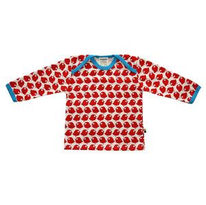loud + proud Langarmshirt Mädchen beige Vögeln rot Gr 86/92 Kragen blau - loud + proud