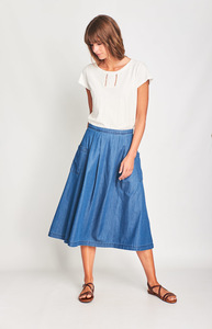 Una Denim Midi Skirt - bibico