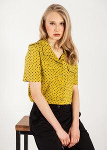 Damenhemd kurzarm gelb mit Print Herzen - SinWeaver atternative fashion