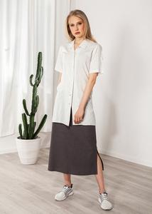Damenhemd kurzarm Leinen mit Tupfern weiß - SinWeaver alternative fashion